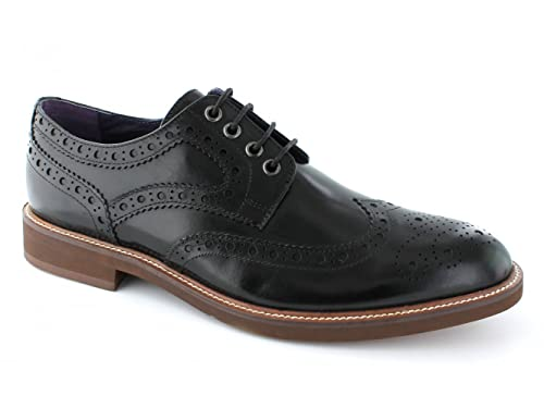 4479fe2862aa Gucinari VINCENTI Mens Lace Up Leather Brogue Derby Shoes Black 41 ...