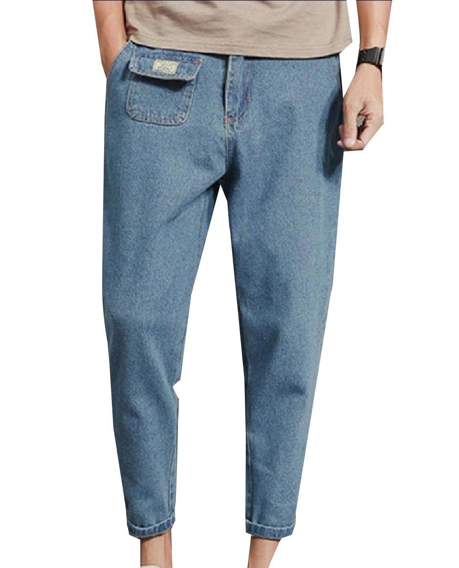 Comfy-Men Tapered Stylish Plus Size Fine Cotton Vintage Wash Denim Pants Blue 4XL