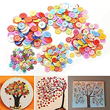 Welecom Tm 100 Pcs Plastic Round Buttons Sewing Diy Craft Decals