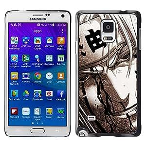 Caucho caso de Shell duro de la cubierta de accesorios de protección BY RAYDREAMMM - Samsung Galaxy Note 4 - Guerrero japonés