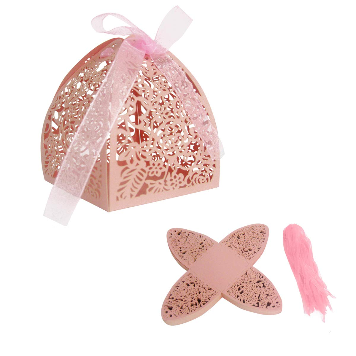 Amazon.com: E-Goal 50pcs/Pack Rose Design Laser Cutting Wedding ...