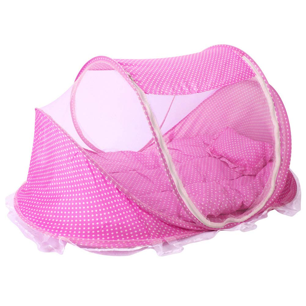Baby Travel Portable Bed Folding Zipper Tent Mesh Anti Mosquitoes Cots Beach Foldable Cribs Pop Up Breathable Bed Safe Netting Tent for Summer Pink 0-24 Months