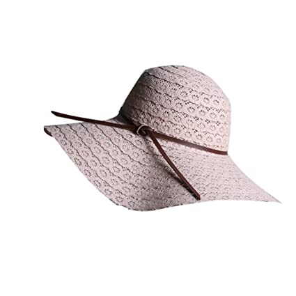 fdb38efb66f Women Foldable Wide Brimmed Straw Sun Hats Ladies Summer Beach Hats Lace  Pink  Amazon.co.uk  Kitchen   Home