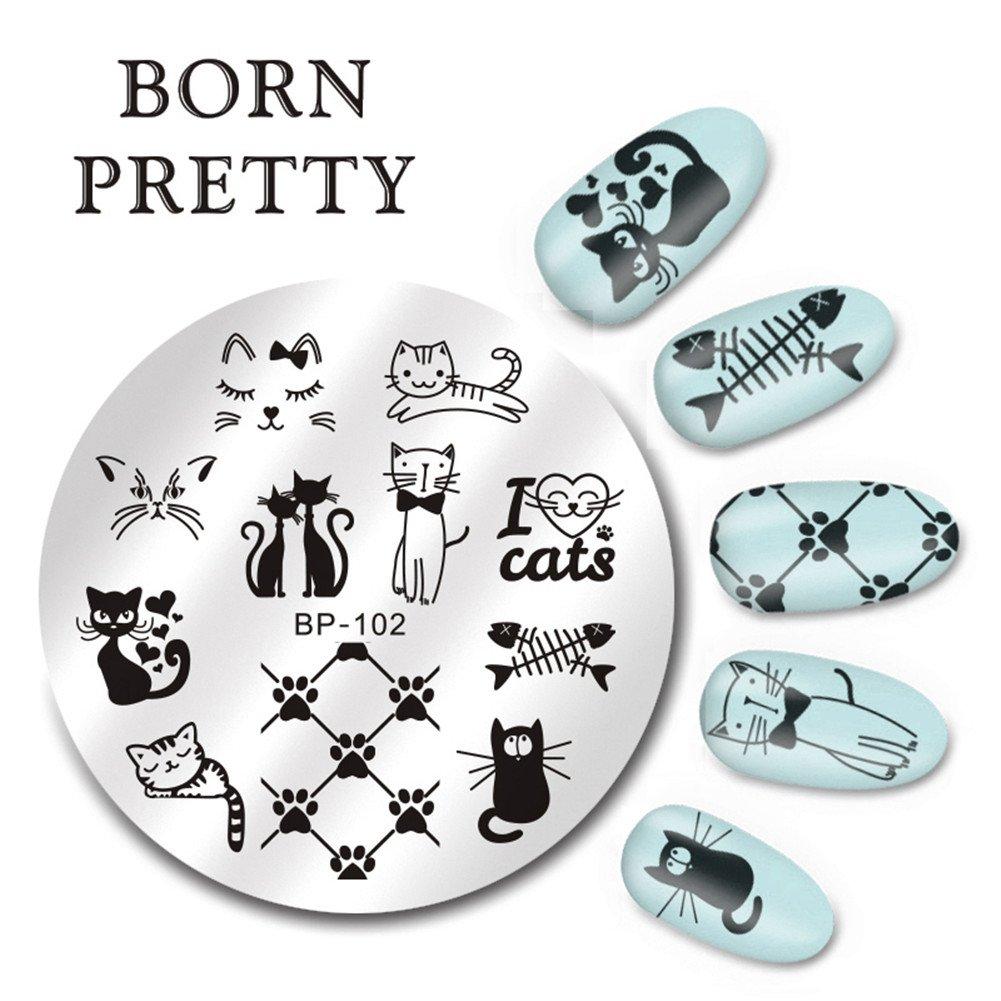 Born Pretty 1 Planche 5.5cm Nail Art Plaque de Stamping Ronde Moitif de Chat Mignon BP-102 Born Pretty®BP-102