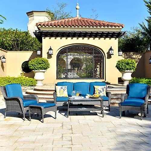 ovios Patio Furniture Set, 6 Pc Outdoor Furniture Set Wicker Rattan Sofa Set with Cushions Table Outdoor Garden Furniture Sets (6 Piece, Gray Wicker,Navy Blue Cushion)
