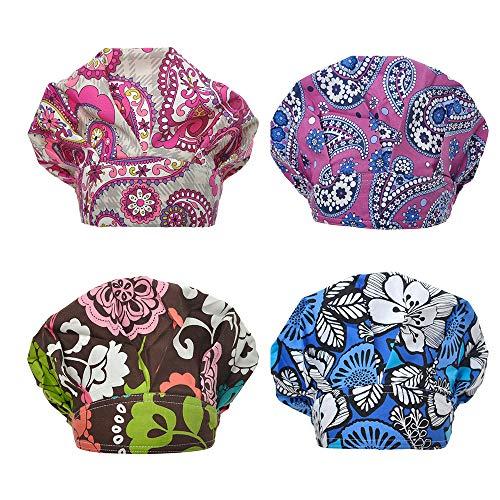Opromo Cotton Bleach Friendly Banded Adjustable Scrub Cap Sweatband Bouffant Hat-Assorted -