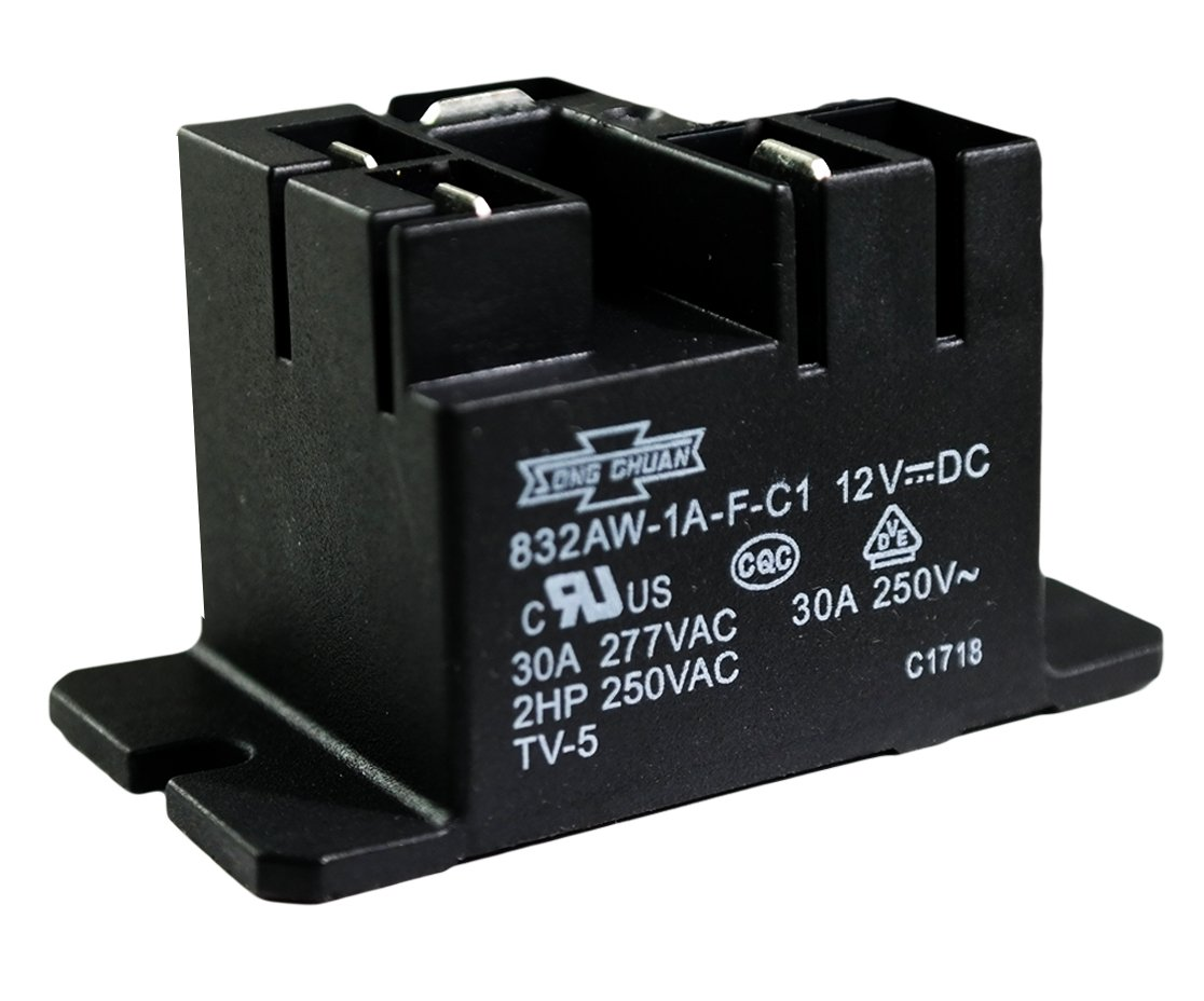 SONG CHUAN 832AW-1A-F-C1-12VDC General Purpose Relay, 1A SPNO Quick Flanged