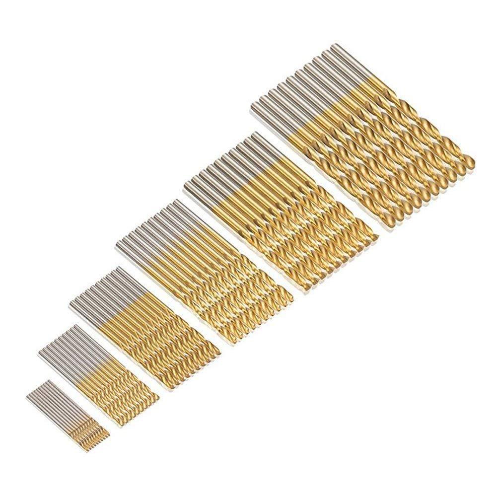 JTENG 60 Stk. Micro Bohrer Set 1/1, 5/2/2, 5/3/3, 5mm Titanium HSS High Speed Metallbohrer Spiralbohrer Bohrersets Profi Drill Bit (10Stk.*6 Pack)