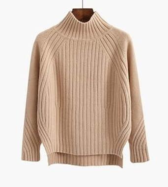 CPFYZH Jersey de Cuello Alto Jersey de algodón para Mujer Otoño e Invierno I Jersey de Punto Jersey Cable Street: Amazon.es: Ropa y accesorios