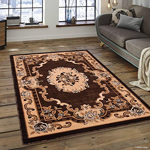 Allstar 8x10 Chocolate and Mocha Classic Floral French Country Machine Carved Effect Rectangular Accent Rug with Ivory and Espresso Bordered Medallion Design (7' 9