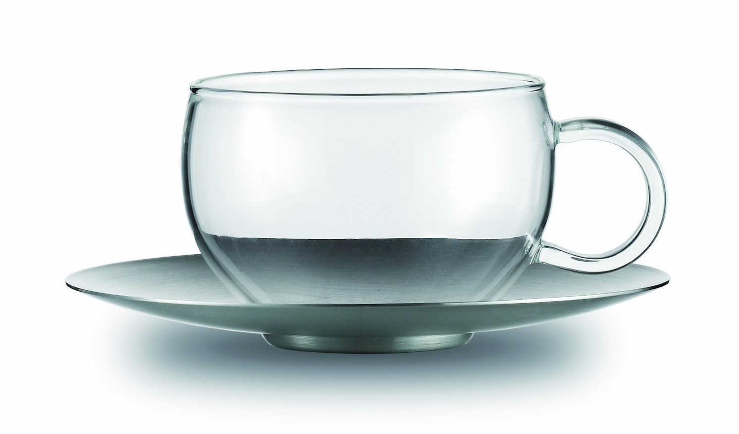 Jenaer Glas Concept Tea Collection Good Mood Glass Cup with Stainless Steel Saucer, 6.8-Ounce, Set of 2