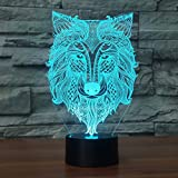 3D Dog Wolf Night Light Animal Table Desk Optical Illusion Lamps 7 Color Changing Lights LED Table Lamp Xmas Home Love Brithday Children Kids Decor Toy Gift