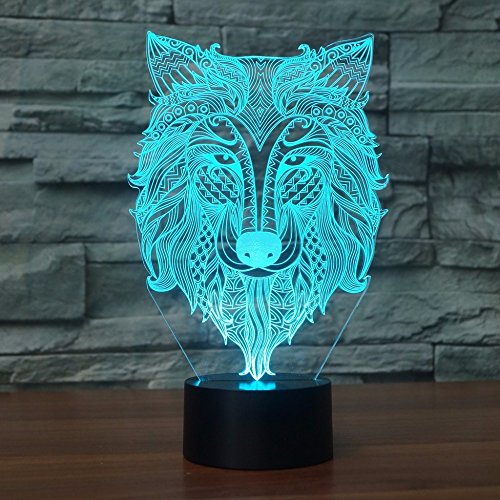 3D Dog Wolf Night Light Animal Table Desk Optical Illusion Lamps 7 Color Changing Lights LED Table Lamp Xmas Home Love Brithday Children Kids Decor Toy Gift by MOLLY HIESON