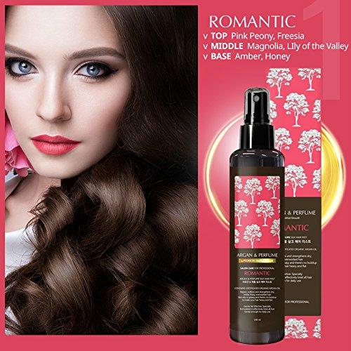 PEDISON BEAUTE Argan Oil and Perfume Hair Mist 4.7oz (Romantic) [K-Beauty] Nourishing, Hydrating, Protecting Hair Mist with Long Lasting ()