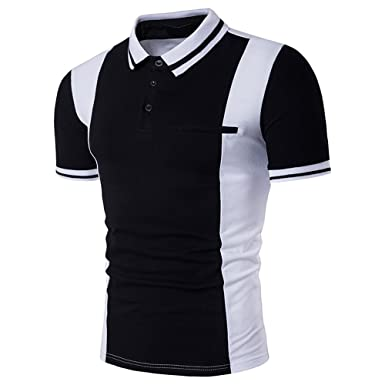 Usopu Mens Summer Casual Daily Sports Slim Fit Solid Colored Short Sleeve Polo Shirt
