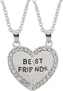 jewelleryjoy Best Friends Friendship Best Friend Split Heart Pendants Gift Present Crystal Necklace in Organza Gift Bag
