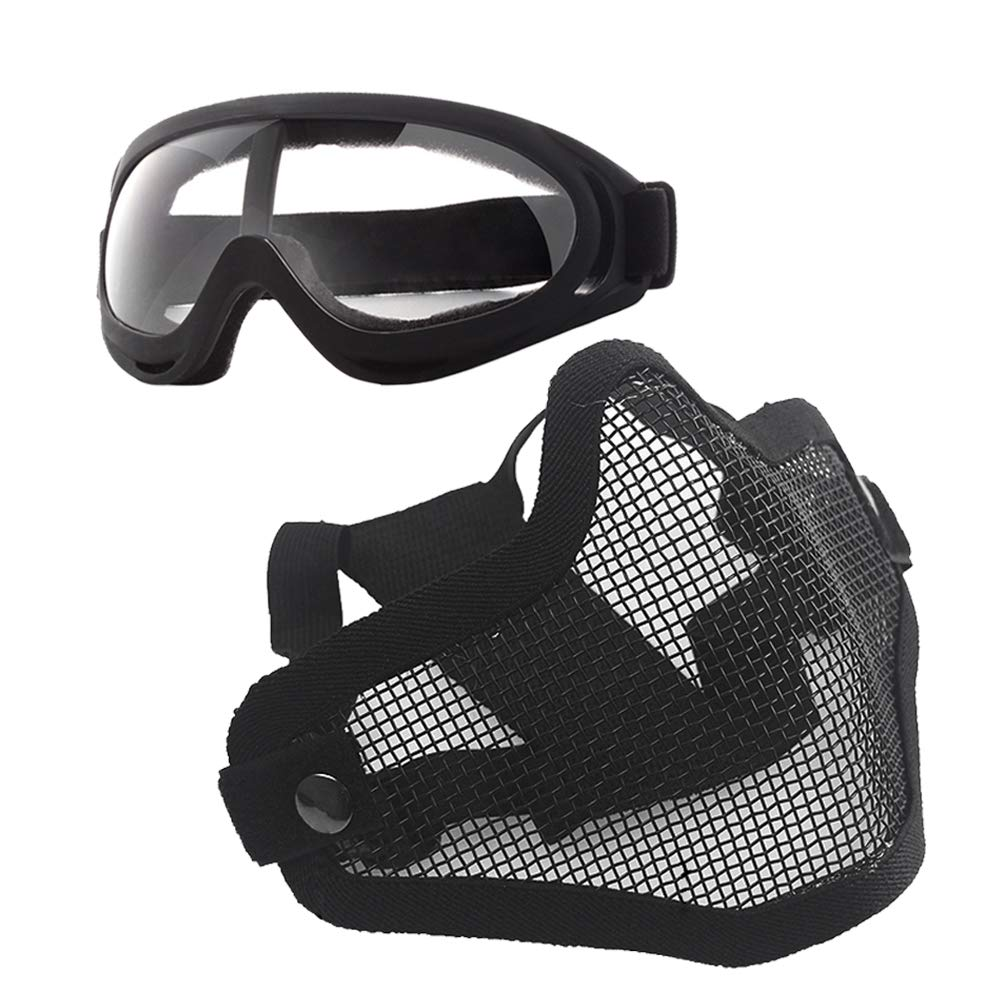 Anyoupin Airsoft Mask and Goggles Set Adjustable Metal Steel Mesh Half Face Mask with Ultra-Violet Protective Outdoor Glasses Goggles for Paintball Shooting Cosplay War Game Black & Goggles by Anyoupin