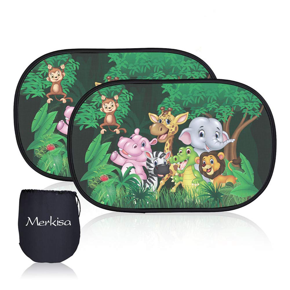 UV Ray Car Side Window Sunshade Animals 2 PCS Car Window Shade Heat Double-Layer Mesh Protect Your Children Family Members from Sun Burn