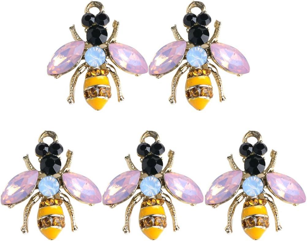 Metal Enamel and Rhinestone Bumblebee Key Ring//Purse Charm// Zipper Pull