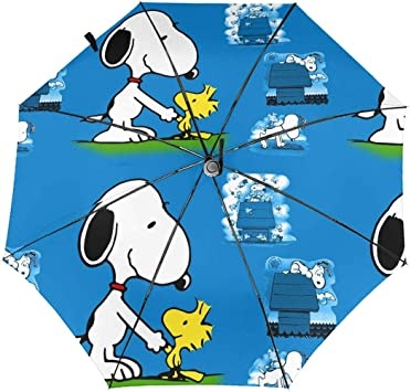 Windproof Travel Umbrella Charlie Brown /& Snoopy Compact Folding Umbrella Automatic Open//Close