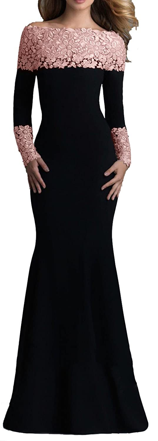 73965dc5923af Mermaid style floor length skirt  trendy boat neck opening with gorgeous  contyrast lace d'cor. Long sleeves decorated with beautiful lace