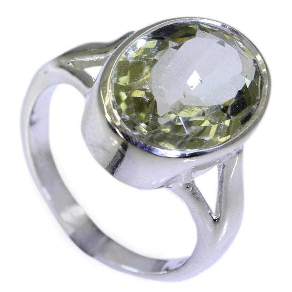 CaratYogi Fine Green Amethyst Sterling Silver Ring for Women in Split Shank Setting Oval Shape Size 5-12