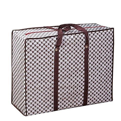 Moolecole Sturdy Extra Large Heavy Duty Storage Tote Bag Christmas Decoration Storage Reusable Grocery/Beach/Gym Bag Khaki Small