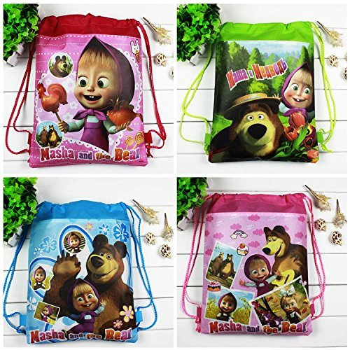 Lowpricenice 4pcs Masha&bear Drawstring Backpack Party Bags Cartoon Package Kid Gifts -