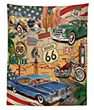 Lunarable Route 66 Tapestry Twin Size, Old Fashioned Cars Motorcycle on A Map Road Trip Journey American USA Concept, Wall Hanging Bedspread Bed Cover Wall Decor, 68 W X 88 L inches, Multicolor