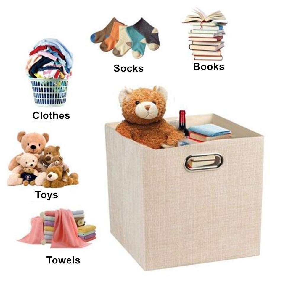 Beige White, 11/″x11/″x11/″ Foldable Storage Cube Basket,Cloth Shelf Closet Organizer Bin with Dual Metal Handle,Toys Storage Basket,Bookcase Boxes,Collapsible Storage Container for Clothes