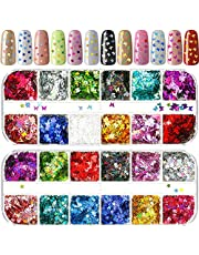 2 Packs Nail Glitter Butterfly Nail Sequin Star Nail Stickers 12 Colors Laser Holographic Nail Sparkle Glitter Sheets Tips Manicure Nail Art Decorations for Eye Face Body Hair DIY Crafts