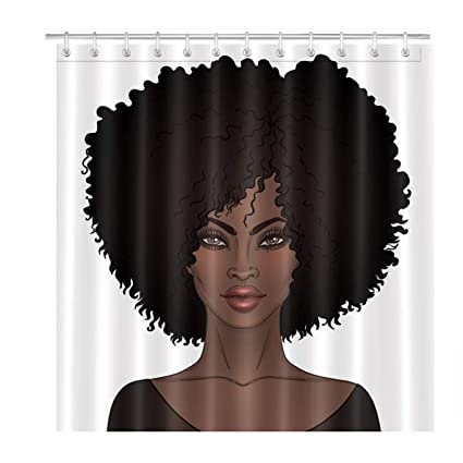 LB Afro African Woman Shower CurtainBlack Bubble Girl 3D Digital Printing Polyester Fabric Mildew
