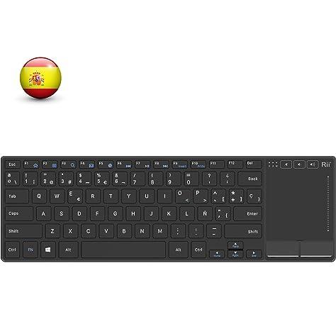 Rii Mini Teclado touchpad K22 tecado inalámbrico 2.4Ghz con Cubierta de aleación de Aluminio Resistente, QWERTY español,Compatible con SmartTV y PC,Fire TV Stick,MI TV Box: Amazon.es: Electrónica