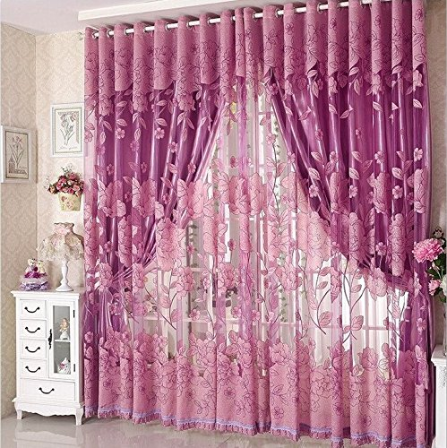 (Vi.yo Fashion Floral Tulle Window Screening Veil Curtains Peony Pattern Sheer Drapes Curtain Curtain for Living Room Window Curtain, 1 Piece (Bottom Part not included))