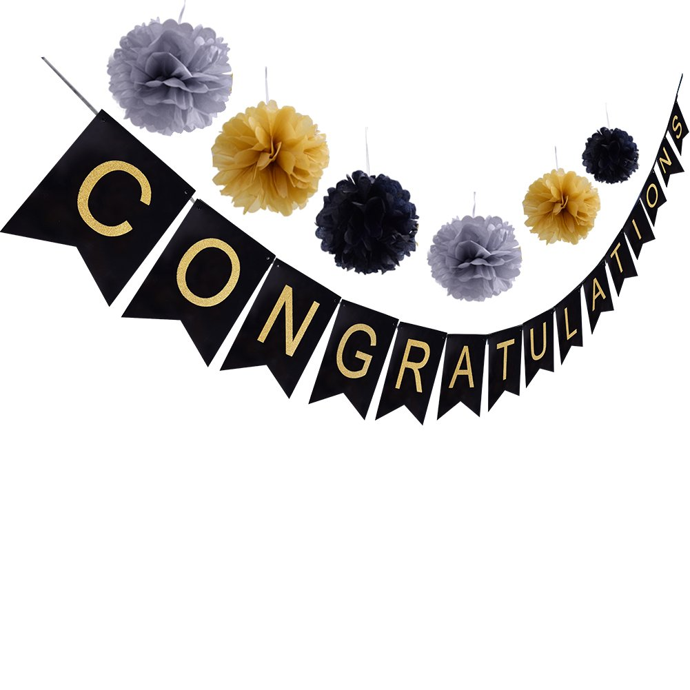 CONGRATULATIONS Banner Sign For Graduation Party Supplies Decoration Kit,With Tissue Paper Pom Poms(Black Gold Gray)