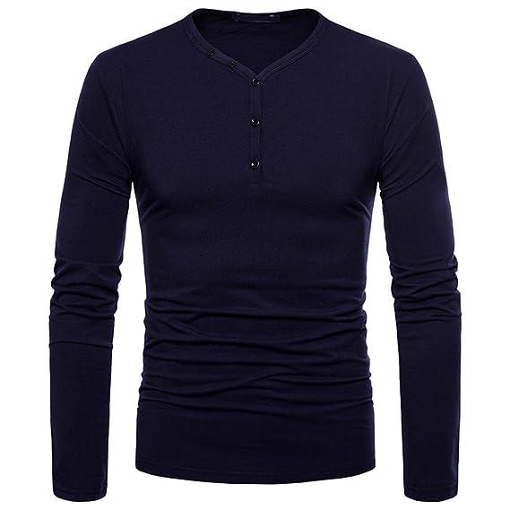 Blusa Hombre Yesmile Camiseta Personalidad de los Hombres de Moda Slim Fit Camisa de Manga Larga sólida Top Blusa: Amazon.es: Ropa y accesorios