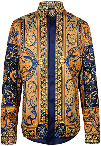 Pizoff Mens Hipster Long Sleeve Luxury Design Golden Strips Flowers Floral Print Button Down Dress Shirt Y1706-27-XL