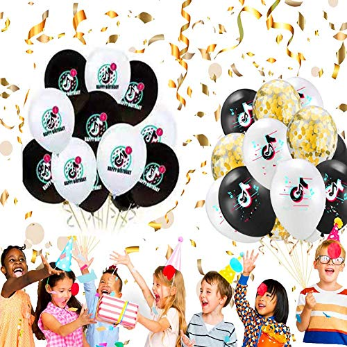 Birthday Balloons for Party Decoration Music Theme Party for Kids Birthday TIK TOK Party Supplies Balloons Banner and Tablecloth Cake Toppers Love Gifts for Girl and Women Adult Fans