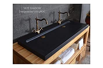 1200 Mm Noir De Jais Granite Double Lavabo Rectangulaire En Granit