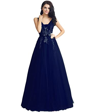 Sarahbridal Juniors Tulle Applique Prom Dresses Long 2018 V-Neck Beaded Evening Ball Gowns Navy
