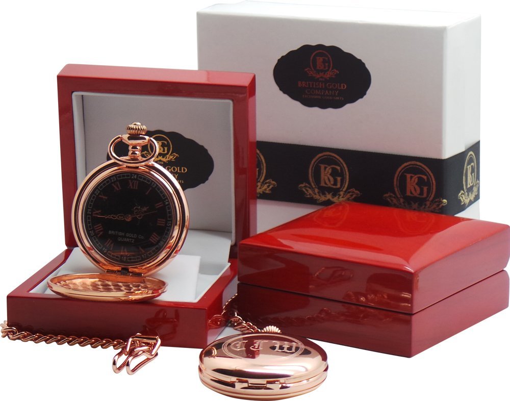 Free Engraving 18ct Rose Gold Pocket Watch Old English Monogram Initials to Full Hunter Case