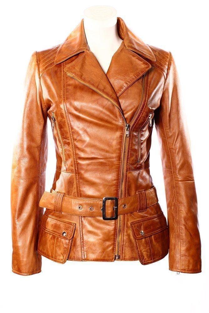 Ladies Designer Retro Feminine Tan Leather Long Biker Jacket 18