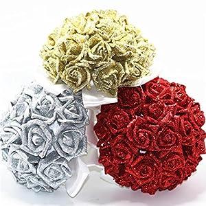 YJYdada Artificial Flower, Crystal Roses Pearl Bridesmaid Wedding Bouquet Bridal Artificial Silk Flowers De(Blue) 4