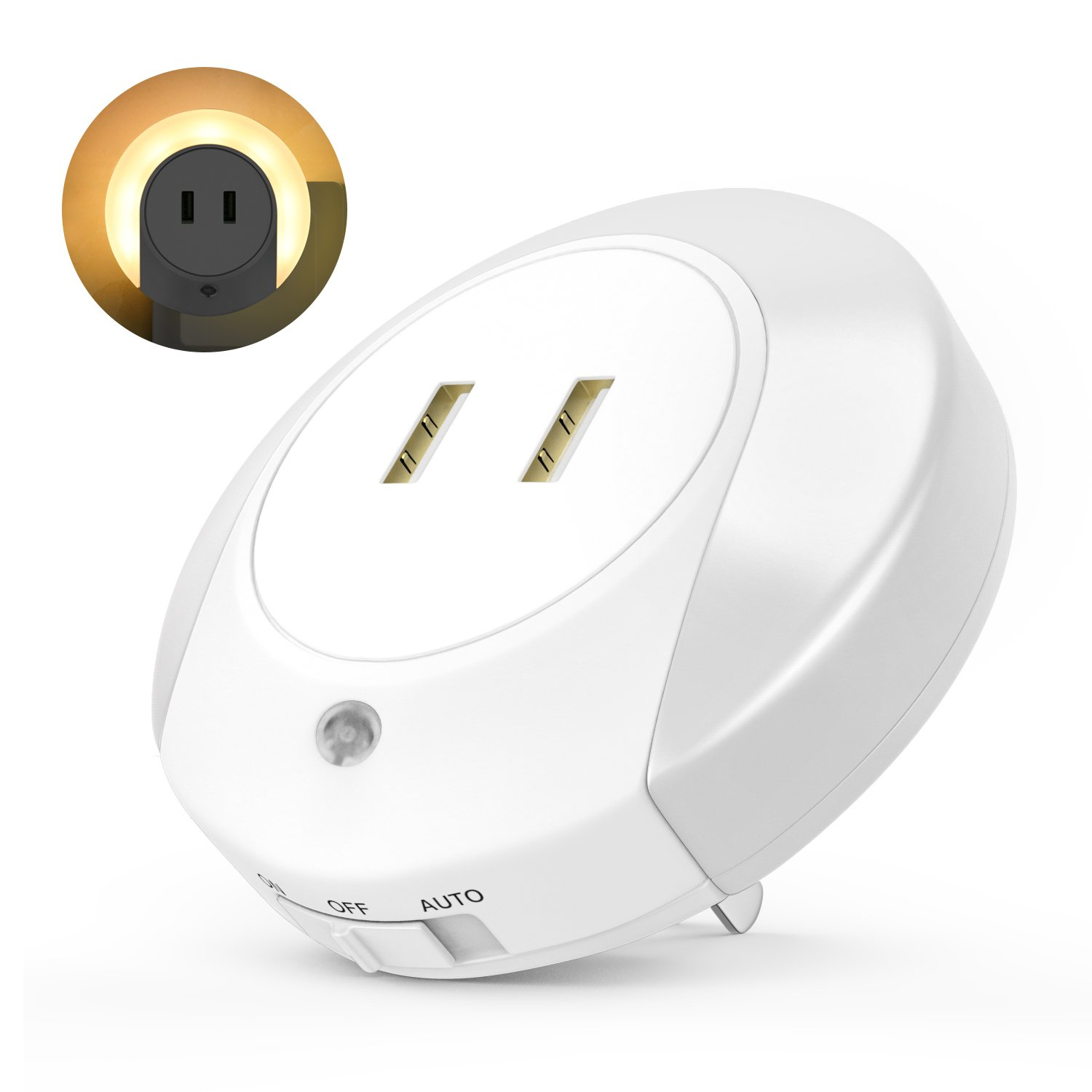 USB Charger Night Light, MoKo Smart LED Plug-in Nightlight Lamp with Light Sensor Control, Dual USB Wall Plate Phone Tablet Charger, Perfect for Bedroom, Studyroom, Corridor, Balcony, Kitchen - White