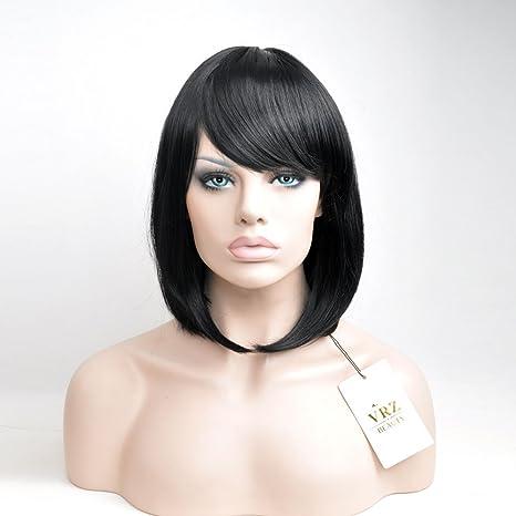 VRZZ - Peluca corta recta con brazaletes de pelo sintético corto negro peluca para mujer