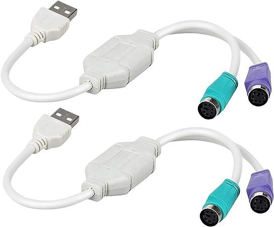 Paquete de 2 adaptadores dobles PS2 a USB para el puerto PS2 ...