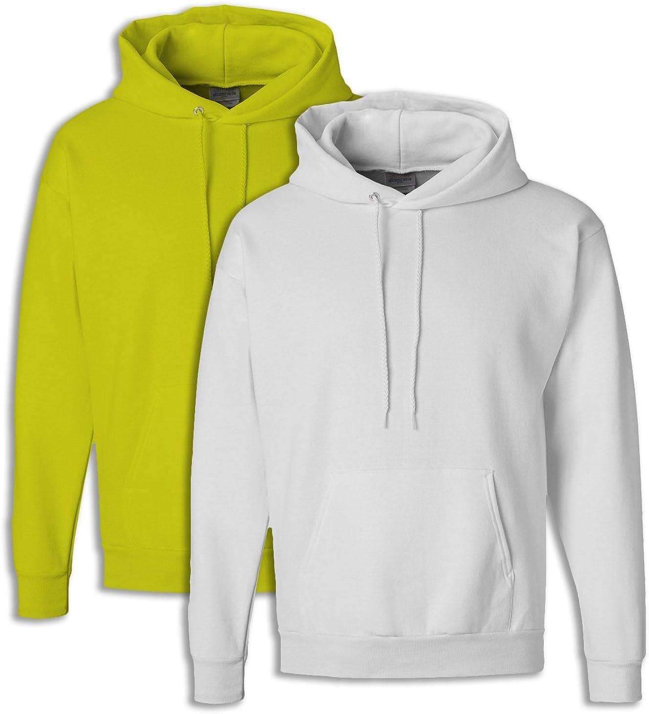Hanes Mens EcoSmart Hooded Sweatshirt XL 1 Safety Green 1 White