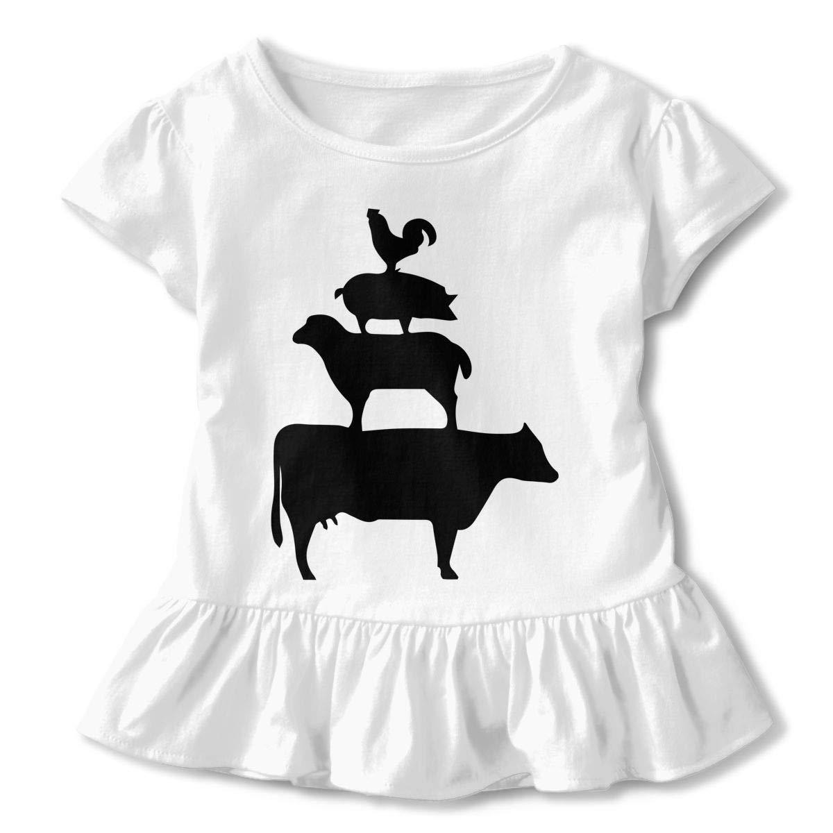 Stacked Farm Animals Childrens Girls Short Sleeve T-Shirts Ruffles Shirt T-Shirt for 2-6T