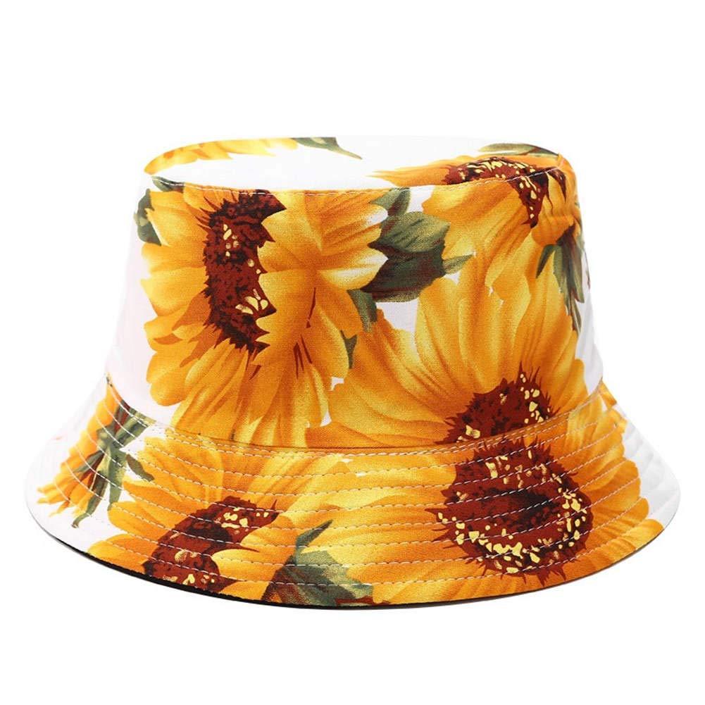 BIBITIME Women Sunflower Bucket Hat Summer Beach Cap Packable Reversible Sunhat