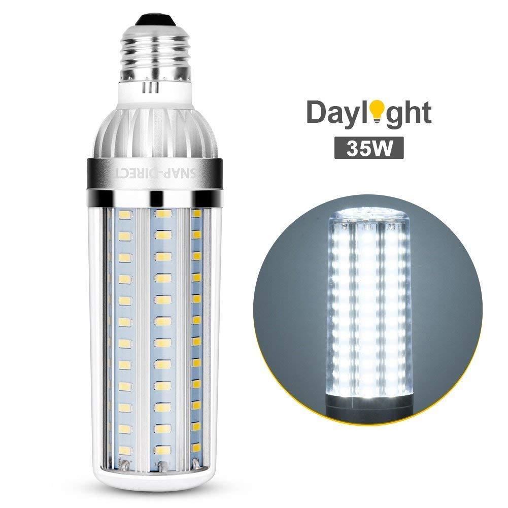 Super Bright LED Light Bulb 35W E26 E27 Base Brightest Corn Bulb 250 Watt Equivalent 6500K 3800Lm LED Bulb Daylight Non-Dimmable LED for Commercial Ceiling Office Factory Barn Garage Warehouse Street SNAP-DIRECT